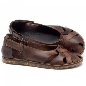 Rasteira Flat em couro marrom havana - Código - 141059