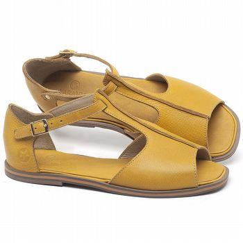 Rasteira Flat em couro Amarelo - Código - 3056