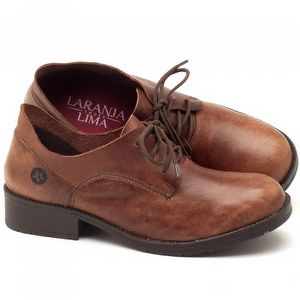 Sapato Fechado Estilo Boho-Chic em couro com salto de 3cm marrom telha - Código - 137159