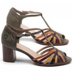 Sandália Salto Médio de 6cm em couro Verde Musgo - Código - 3697