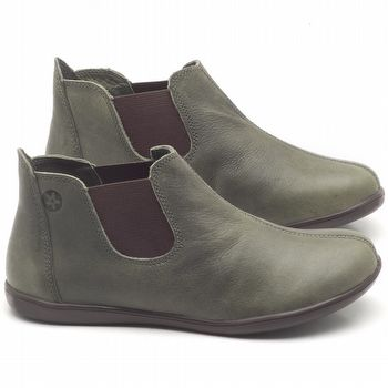 Flat Boot em couro Musgo - Código - 137166