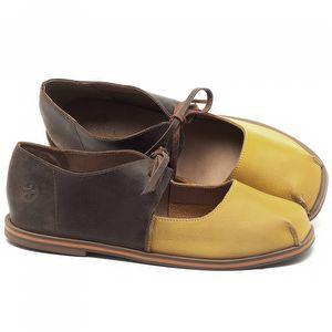 Sapatilha Alternativa em couro Amarelo com Marrom Telha - Código - 3052