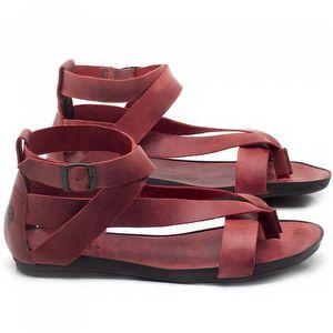 Rasteira Flat em couro Vermelho - Código - 137197
