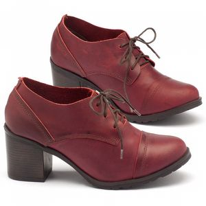 Sapato Fechado Estilo Boho-Chic com salto de 6cm em couro vermelho - Código - 137042