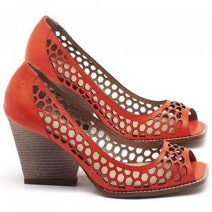 Peep Toe Salto Medio de 6cm em Couro Laranja - Código - 3498