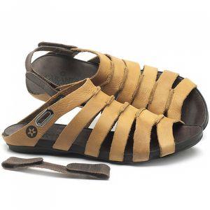 Rasteira Flat em couro Amarelo - Código - 137196