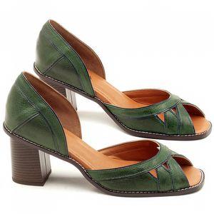 Sandália Salto Médio de 6cm em Couro Verde Militar com Indigo - Código - 3489