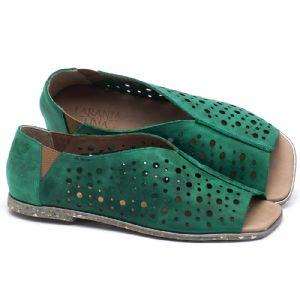 Rasteira Flat em couro Verde Folha - Código - 145040