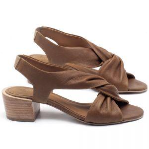 Sandália Salto Médio de 6cm em couro Marrom Conhaque - Código - 56177