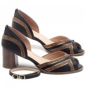 Sandália Salto Médio de 6cm em couro Preto com Telha - Código - 3699