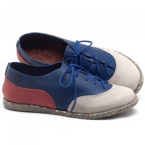 Tênis Cano Baixo em couro Off-white com Azul e Vermelho - Código - 137224