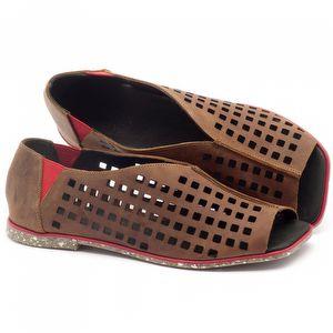 Rasteira Flat en couro castanho com palmilha em couro - Código - 145016