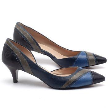 Scarpin Salto Médio de 6cm em couro Azul com Preto - Código - 3663