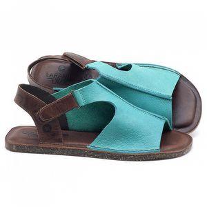 Rasteira Flat em couro Azul Piscina - Código - 141111
