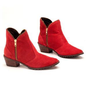 Bota Cano Curto Vermelho Zipper 93061
