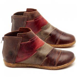 Flat Boot em couro Marrom, Cinza e Vermelho - Código - 137145