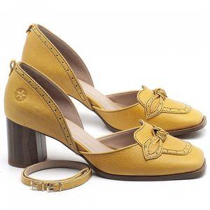 Scarpin Salto Médio de 6cm em couro Amarelo - Código - 3674