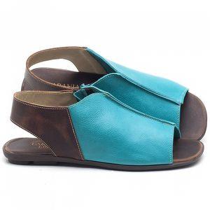 Rasteira Flat em couro Azul Piscina - Código - 9465