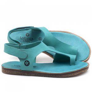 Rasteira Flat em couro Azul Piscina - Código - 141102