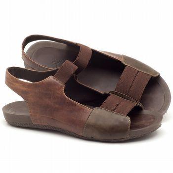 Rasteira Flat em couro marrom com café - Código - 56142