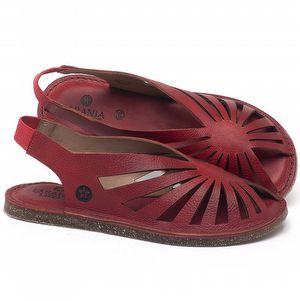 Rasteira Flat em couro Vermelho Tropical - Código - 141152