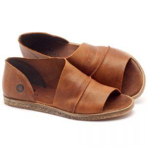 Rasteira Flat em couro havana - Código - 141055