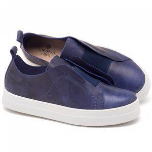 Tênis Cano Baixo em couro azul - Código - 9430