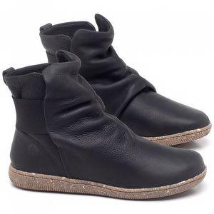 Flat Boot em couro Preto - Código - 137257