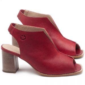 Sandália Salto Médio de 6cm em couro Vermelho Coral - Código - 3632