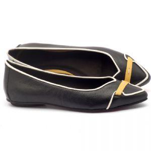 Sapatilha Bico Fino em couro preto, off e amarelo - Código - 56144