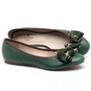Sapatilha Bico Fechado em couro Verde - CÓDIGO - 9450