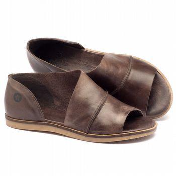 Rasteira Flat em couro marrom - Código - 141018