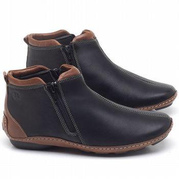 Flat Boot em couro Preto - Código -  136094