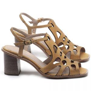 Sandália Salto Médio de 6cm em couro Amarelo Citrus - Código - 3508