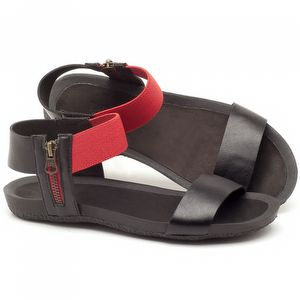 Rasteira Flat em couro preto com vermelho - Código - 56141