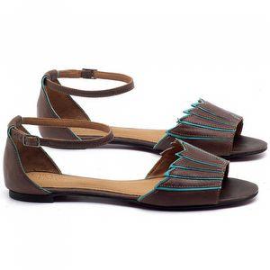 Rasteira Flat em couro Marrom Telha com Azul Piscina - Código - 56187