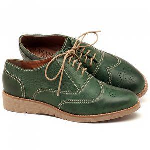 Oxford Flat em couro Verde Militar - Código - 3592