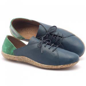 Tênis Cano Baixo em couro azul e verde - Código - 145011