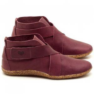 Flat Boot em couro Ameixa - Código - 145032