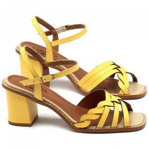 Sandália Salto médio de 6cm em couro amarelo - Código - 3555