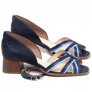 Sandália Salto Médio de 4cm em couro Azul - Código - 3716