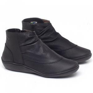 Flat Boot em couro Preto - Código - 139037