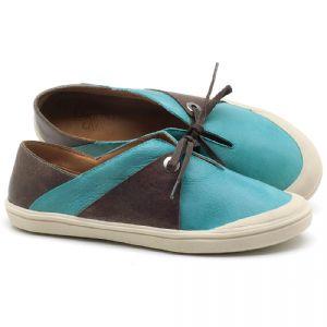 Tênis Cano Baixo em couro Azul Piscina - Código - 56183