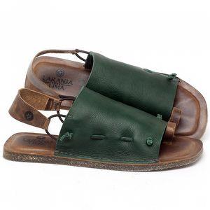 Rasteira Flat em couro Verde Militar - Código - 141154