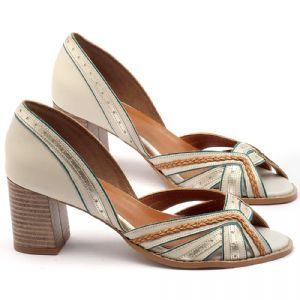 Sandália Salto médio de 6cm em couro off´white - Código - 3548