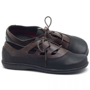 Flat Shoes em couro Preto com Telha - Código - 56189