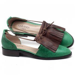 Oxford com salto de 2cm em couro Verde Militar com Marrom Telha - Código - 9433