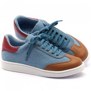 Tênis Cano Baixo em jeans com couro - Código - 99067