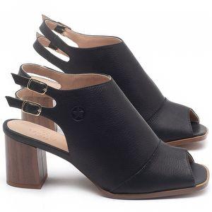 Sandália Salto Médio de 6cm em couro Preto - Código - 3690