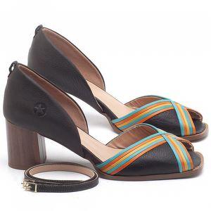 Sandália Salto Médio de 6cm em couro Chocolate - Código - 3694